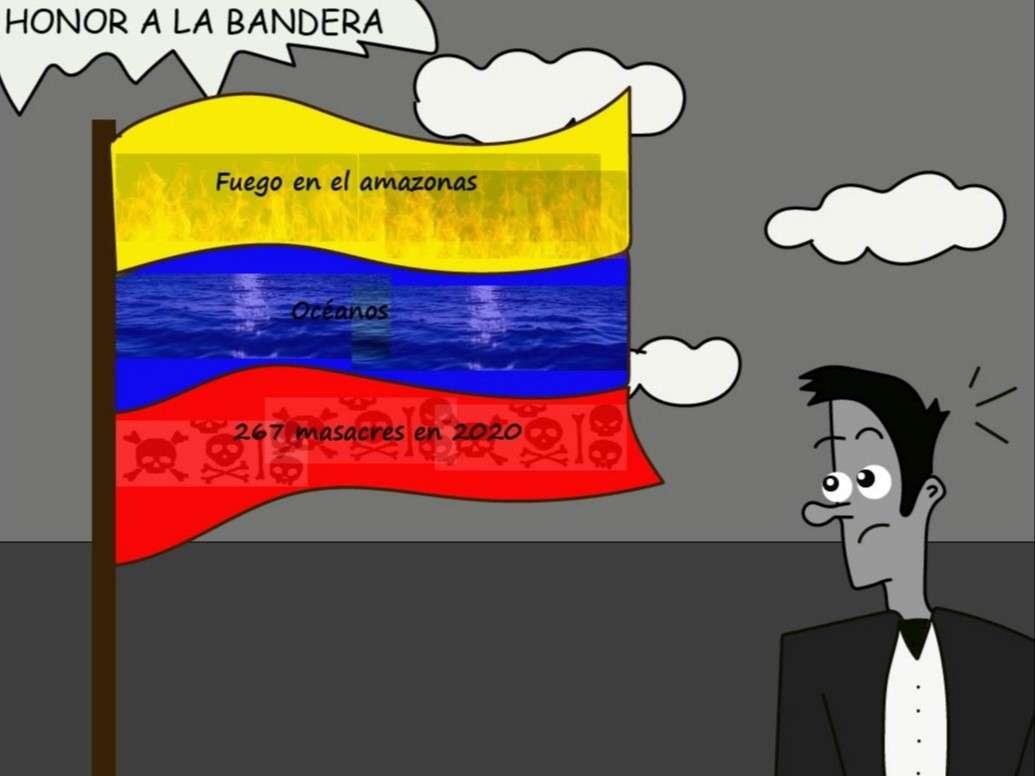 Caricatura de Bandera colombiana